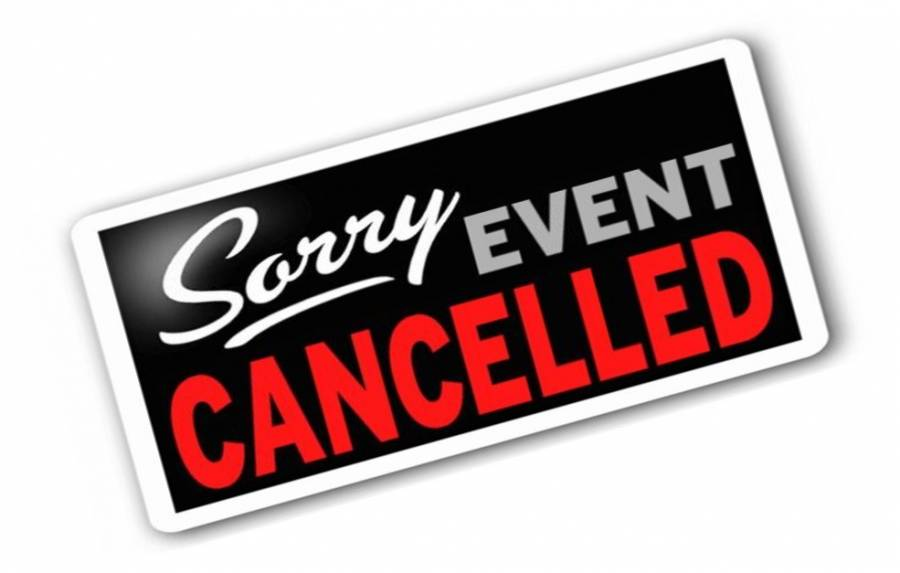 sORRY eVENT cANCELED SIGN