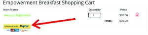 Paypal Shopping Cart with arrow